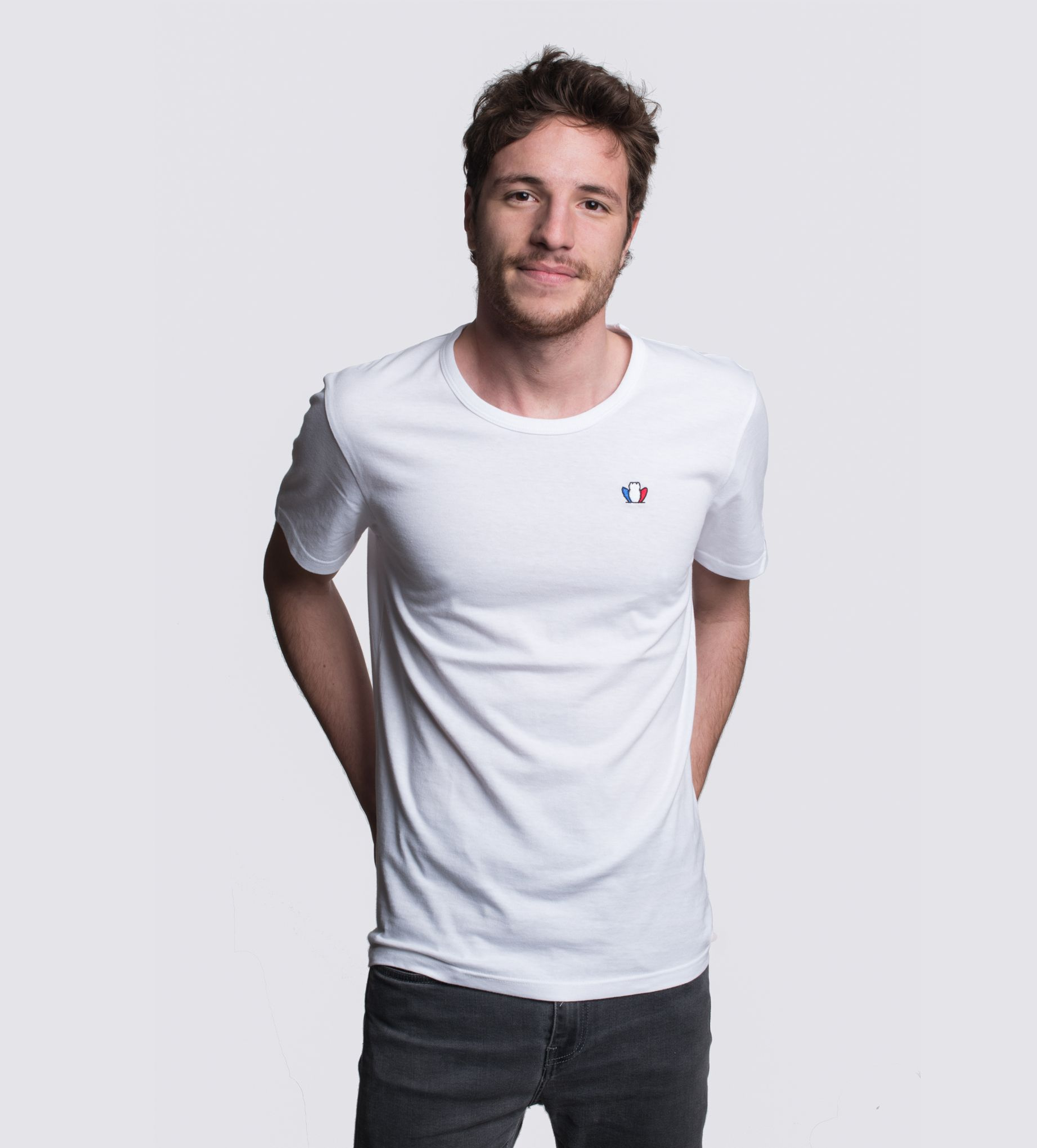 l 39 authentique 2 0 t shirt brod homme blanc coton bio. Black Bedroom Furniture Sets. Home Design Ideas