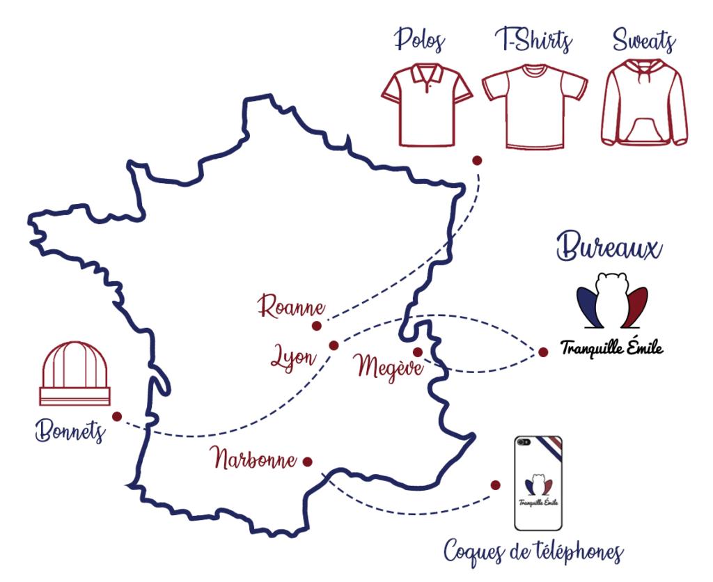Carte du made in France - Tranquille Emile
