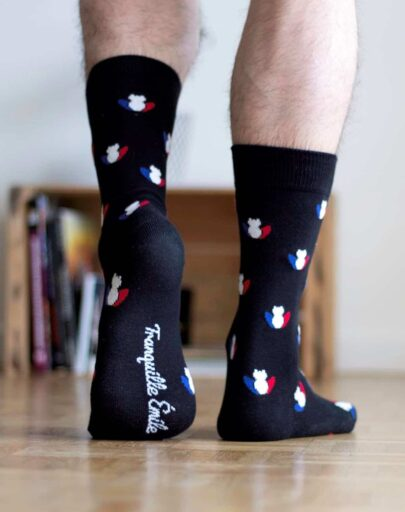 chaussettes-made-in-france-tranquille-emile-les-grenouilles-noires-tricolore