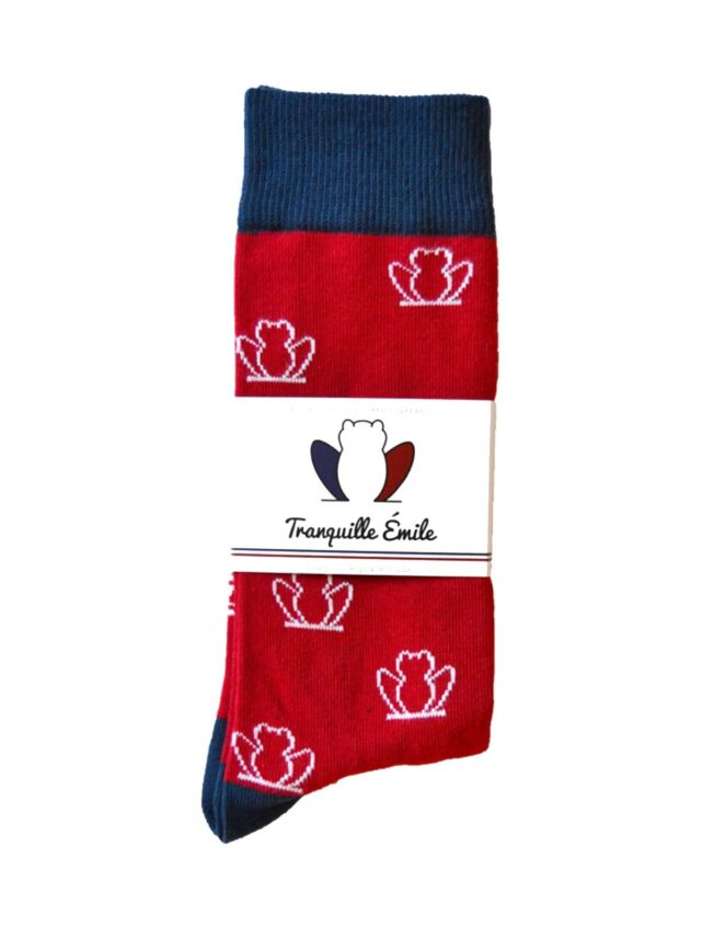 chaussettes-made-in-france-tranquille-emile-les-grenouilles-rouge-4